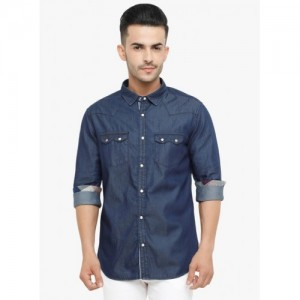 WITH Navy Blue Solid Slim Fit Denim Shirt