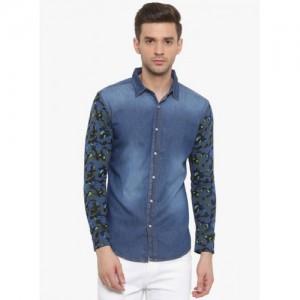 WITH Blue Printed Denim Shirt
