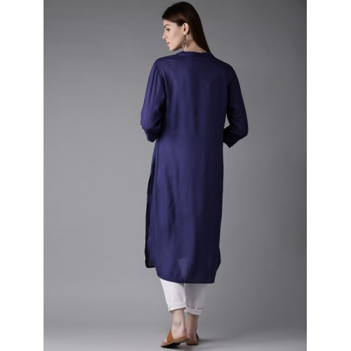 HERE&NOW Women Blue Solid Straight Kurta