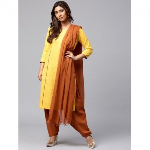 Jaipur Kurti Women Yellow & Brown Solid Kurta with Salwar & Dupatta