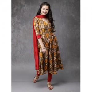 Anouk Women Yellow & Red Printed Kurta with Churidar & Dupatta