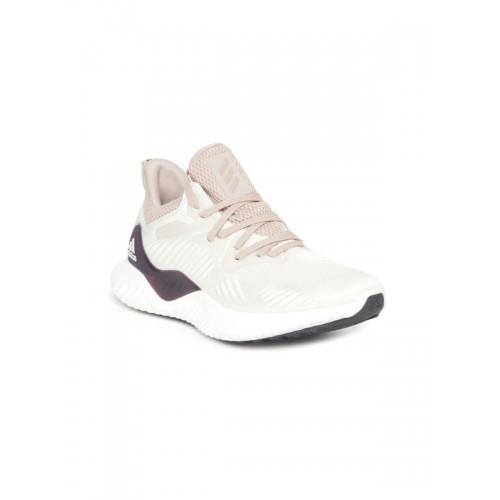 new concept 1d990 2ec5b ... Adidas Women Beige  White ALPHABOUNCE BEYOND W Running Shoes ...