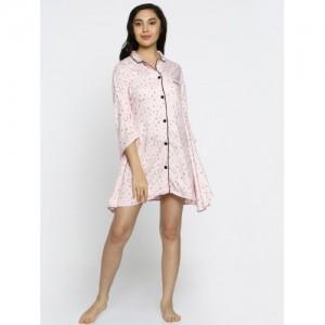a128d5fd3c The Kaftan Company Pink Printed Kaftan Sleep Shirt LW VS SEREIN02