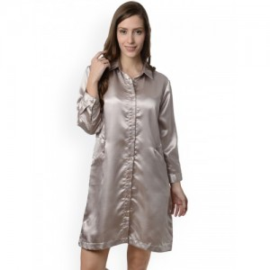 Da Intimo Women Solid Grey Sleep Shirt