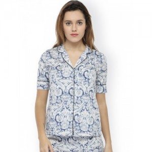 Oxolloxo Women White Printed Sleep Shirt