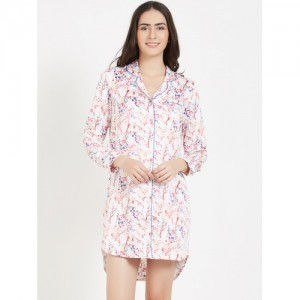 PrettySecrets Women White & Red Printed Sleep Shirt PS0916SSL01