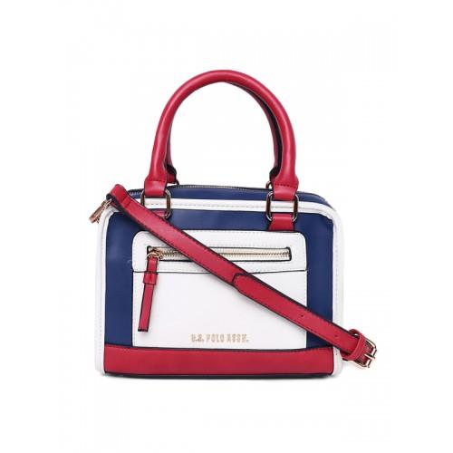 ... Handheld Bag  U.S. Polo Assn. Women White   Blue Colourblocked Handheld  ... 749d3c7b47