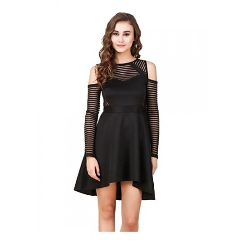 3707cf6bba1 ... Texco Black Cut-Out Shoulder Lace Party High-Low Skater Dress ...