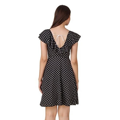 Texco polka dots Tie-up neck detail skater dress