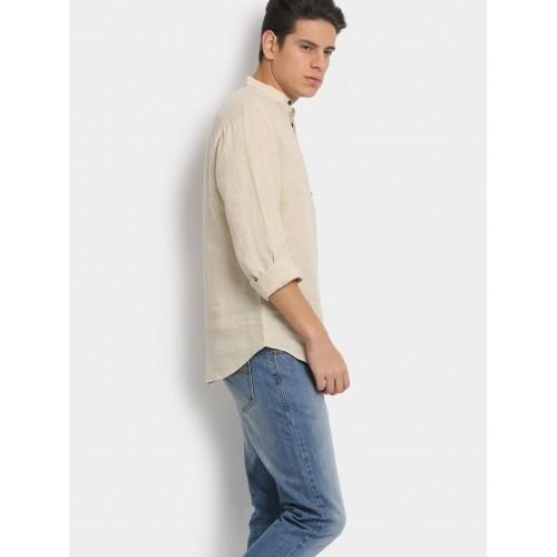 buy jack jones men beige casual short kurta online. Black Bedroom Furniture Sets. Home Design Ideas
