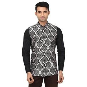 QDesigns Men's Black Printed Nehru Jacket