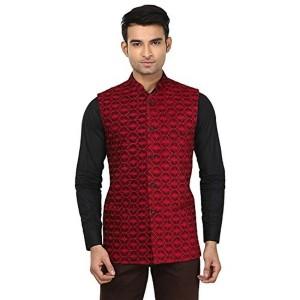 QDesigns Men's Maroon Printed Nehru Jacket