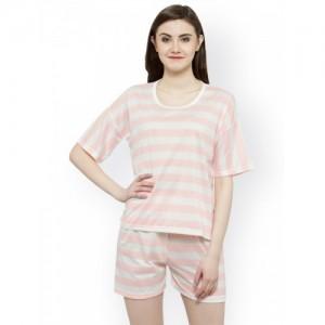 N-Gal White & Pink Striped Lounge Set