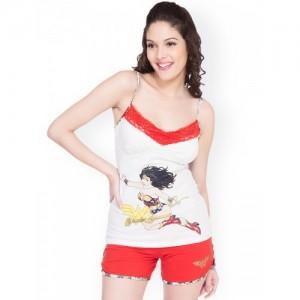 Soie White & Red Printed Shorts Set WWO-3