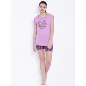 July Nightwear Purple Printed Lounge Set C34