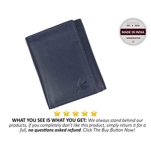 Hornbull Navy Blue Tri-fold Leather Wallet For Man