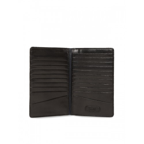 Holii Men Black Leather Self-Striped Two Fold Wallet