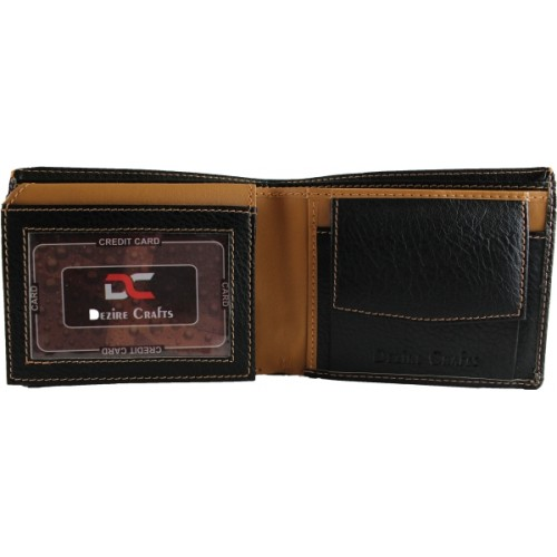 Dezire Crafts Men Black, Tan Artificial Leather Casual Wallet