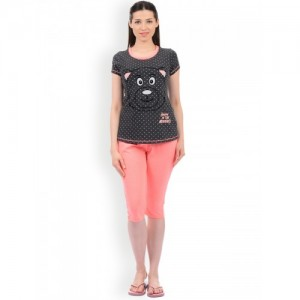 Sweet Dreams Women Charcoal Grey & Coral Pink Printed Night suit