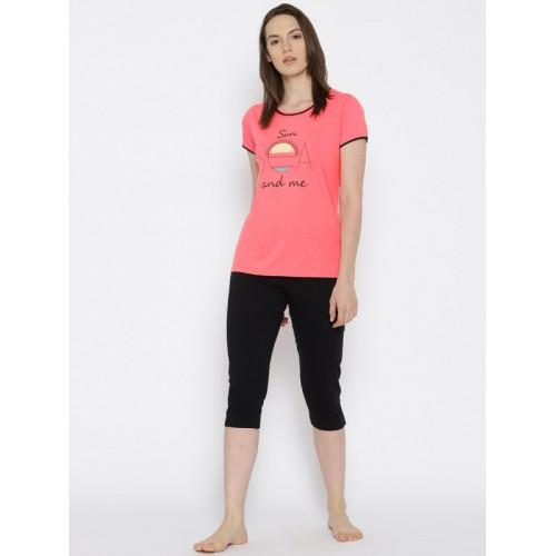 c3f05d40f7 ... Kanvin Women Pink & Black Printed Night Suit MJKSS18112A ...