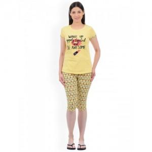 Sweet Dreams Women Yellow & Black Printed Night Suit 217018