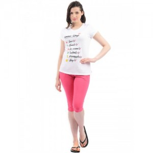 Sweet Dreams Women White & Pink Printed Night Suit 216318
