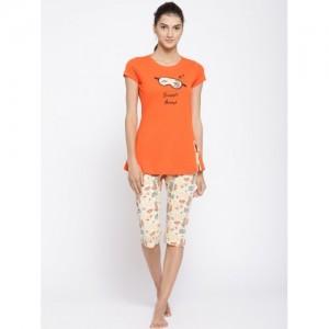 Sweet Dreams Women Orange & Yellow Printed Night suit