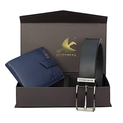 Hornbull Men's Blue Wallet and Black Belt Combo BW93101