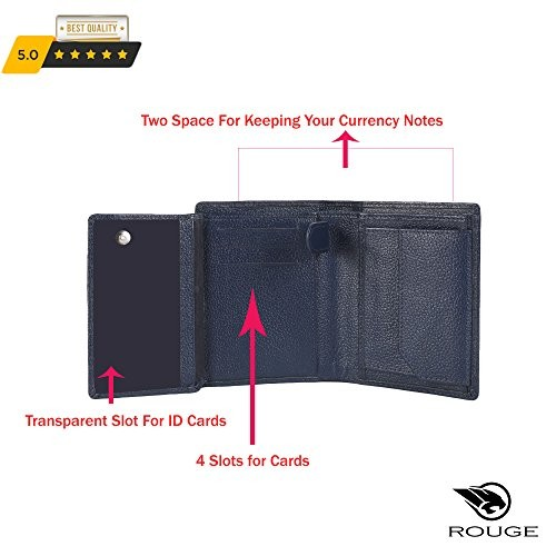 RUGE Men's Blue Genuine Leather front pocket Wallet along with 7 card holder, 2 cash compartment, 1 Id card holder and 1 coin pocket