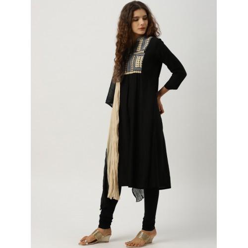 eb49a6f9757cd ... IMARA Women Black Yoke Design Kurta with Leggings & Dupatta ...