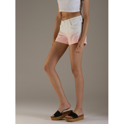 Flying Machine Women White & Pink Ombre Regular Fit Hot Pants