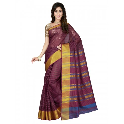 463051b209f83 Buy Saree Swarg Burgundy Art Silk Saree with Blouse online