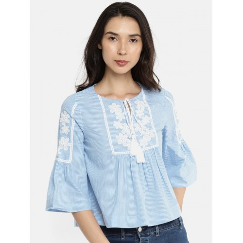 b25b642851529a Blue And White Striped Embroidered Top - Best Picture Of Blue ...