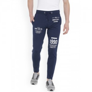 Duke Men Navy-Blue Printed Trackpants