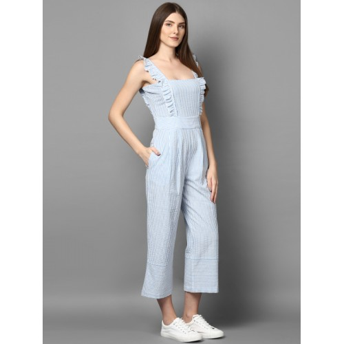 STREET 9 Women White & Blue Striped Culotte Jumpsuit