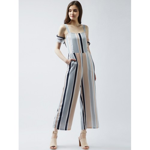 Buy Magre Multicoloured Striped Basic Jumpsuit Online Looksgudin