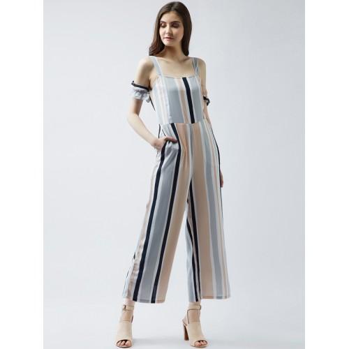 Buy Magre Multicoloured Striped Basic Jumpsuit Online Looksgudin