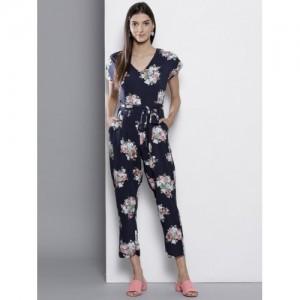 DOROTHY PERKINS Navy Blue & Pink Printed Basic Jumpsuit