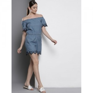 DOROTHY PERKINS Blue Solid Chambray Off Shoulder Playsuit