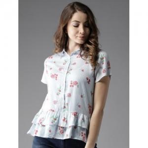 Moda Rapido Blue & Red Printed Shirt Style Top