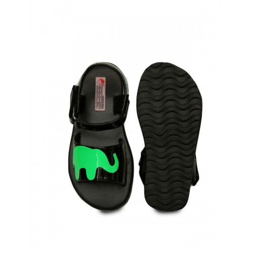 DChica Girls Black & Green Comfort Sandals