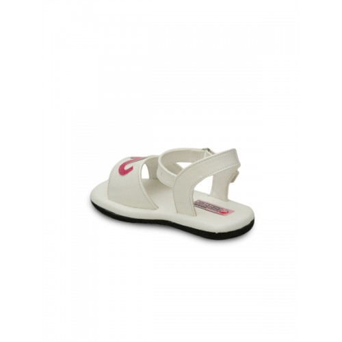 DChica Girls White & Pink Comfort Sandals