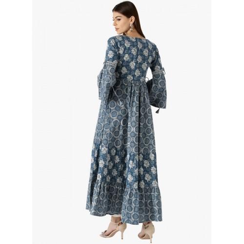Libas Women Blue Printed Cotton Anarkali Kurta