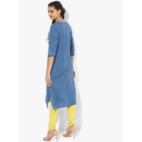 AURELIA Women Blue Woven Design Straight Kurta