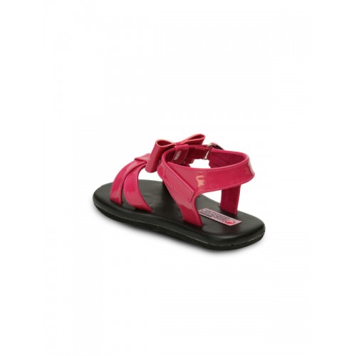 DChica Girls Black & Pink Comfort Flats Sandals