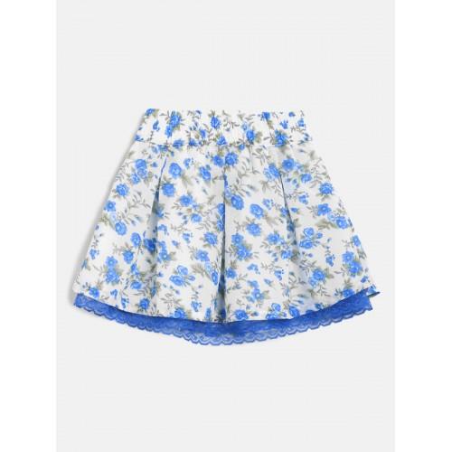 MINI KLUB Girls White & Blue Cotton Printed Skirt