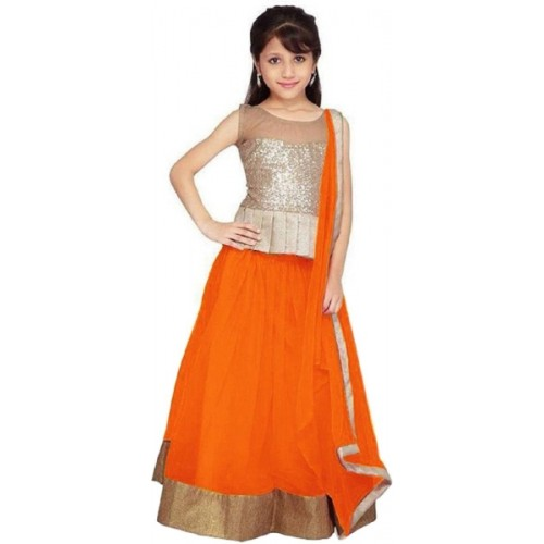 Active Girls Orange Net Solid Lehenga Choli
