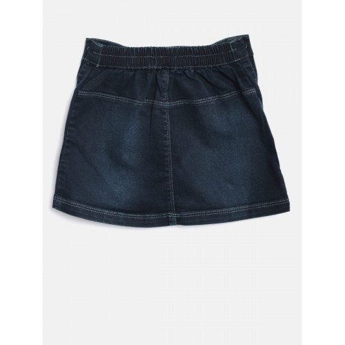 Palm Tree Girls Navy Washed Denim A-Line Skirt