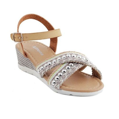 Kittens Beige Synthetic Leather Trendy Heel Sandals
