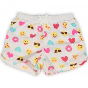The Children's Place White Casual Printed Cotton Short For Girl's